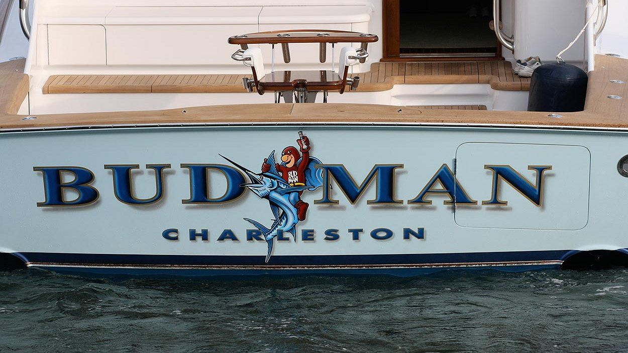 Budman charleston boat transom boats transom artwork for Custom transom