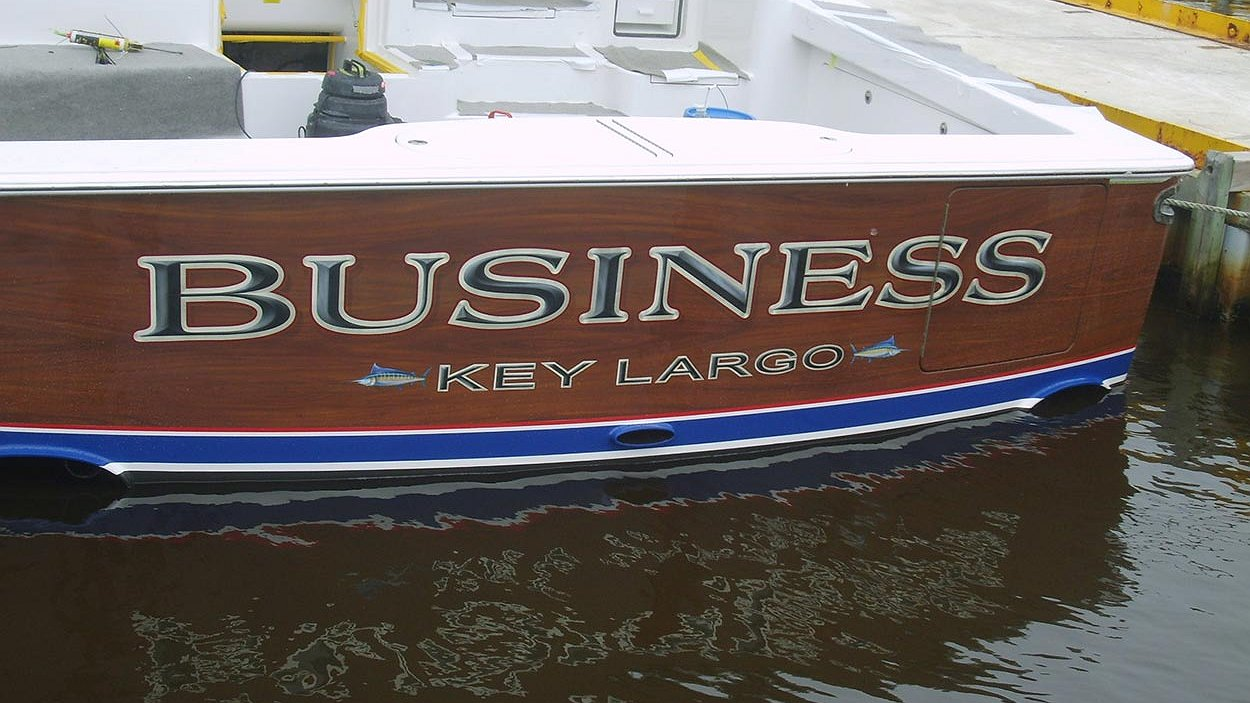 Business key largo boat transom boats transom artwork for Custom transom