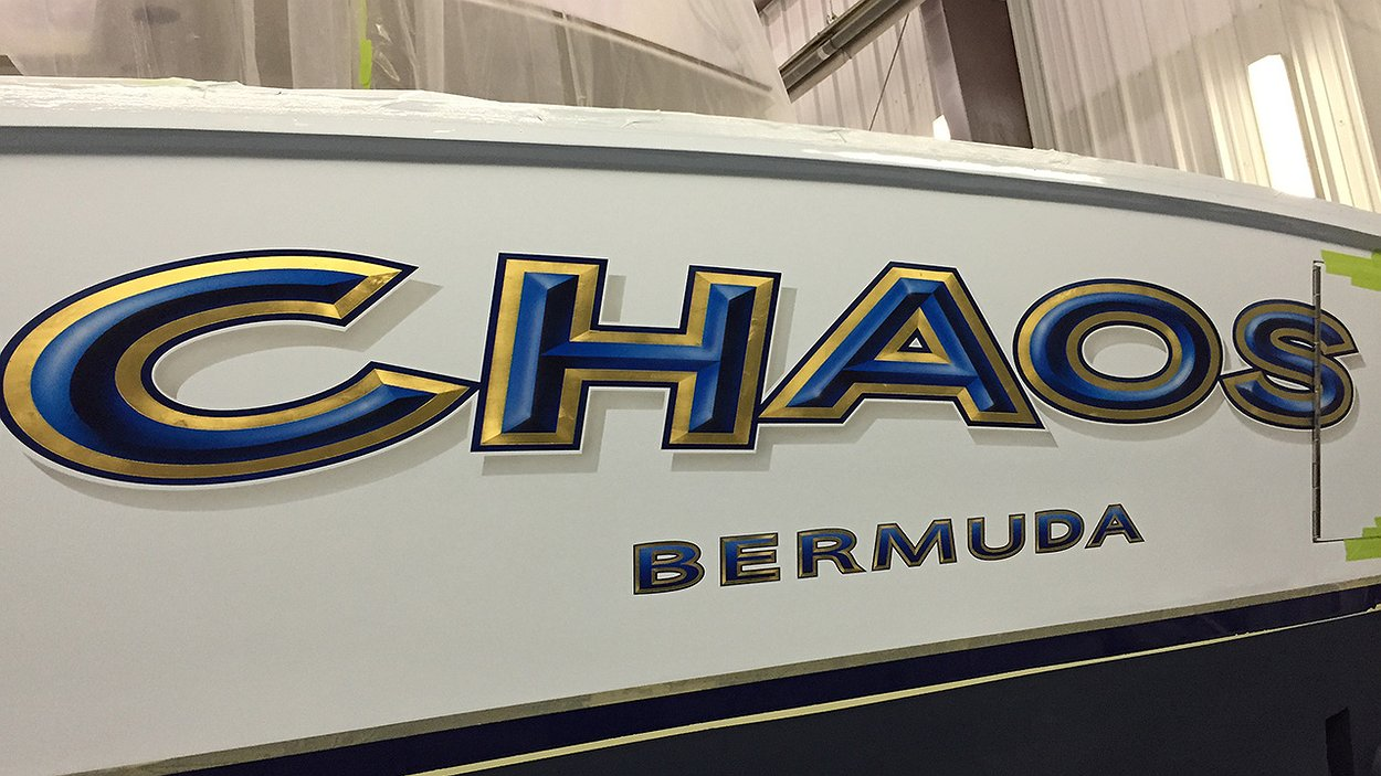 Chaos bermuda boat transom boats transom artwork for Custom transom