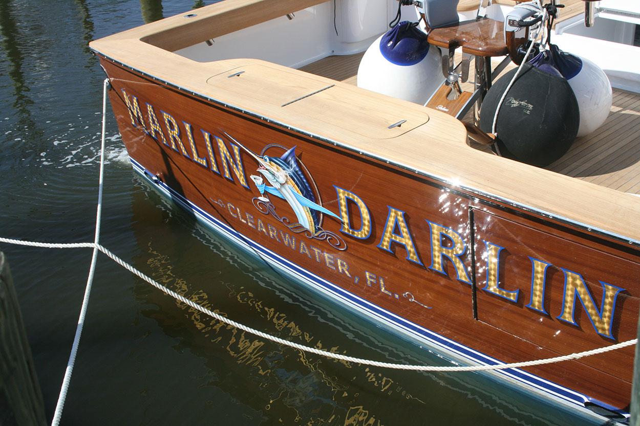 Marlin Darlin, Clearwater Florida Boat Transom   BOATS TRANSOM ARTWORK PAINTING   EVERETT ...